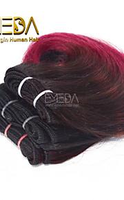 новые 3шт / установить Ombre человек девственница короткие волосы ткать мокрый волнистые Ombre 2 тон цвет # 1b / Burg 8inch 6 цветов