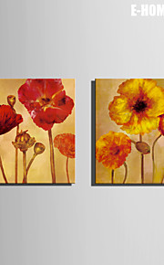 e-home® strukket lerret kunst røde blomster dekormaling sett 2