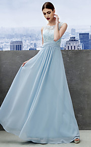 TS Couture Formal Evening Dress - Sky Blue A-line Scoop Floor-length Chiffon / Lace