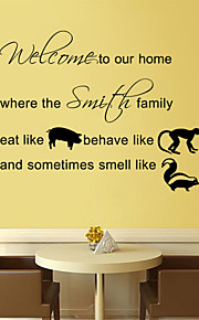 Wall Stickers Wall Decals Style Welcome to Our Home English Words & Quotes PVC Wall Stickers