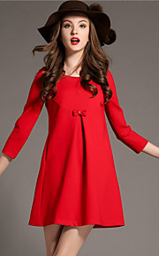Women's Patchwork Red / Black / Green Dress(cotton)