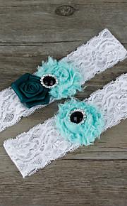 Stretch Satin / Lace Wedding Fashion Garter with Flower / Rhinestone