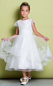 Lanting Bride A-vonalú Tea-hossz Virágoslány ruha - Csipke Rövidujjú Mély dekoltázs val vel Csipke