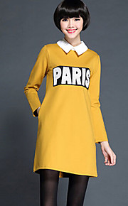 Women's Letter Red / Black / Yellow Dress , Cute / Plus Sizes Peter Pan Collar Long Sleeve