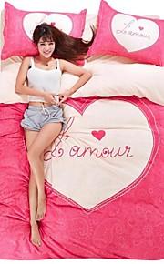 ihana vaaleanpunainen sydän vuodevaatteet sarja 4kpl neljän vuodenajan käyttöön