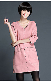 Women's Solid Pink / Camel / Gray Dress , Cute / Plus Sizes V Neck Long Sleeve