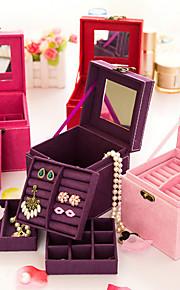 bois de style coréen princesse boîte à bijoux pupitres doubles (rouge, violet, rose) (1pc)
