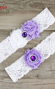 Stretch Satin / Lace Wedding Sweet Garter with Flower / Rhinestone
