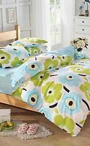 mingjie® blu e verde fiori fumetto matrimoniale e due letti singoli dimensioni levigatura insiemi 4pcs per ragazzi e ragazze di porcellana