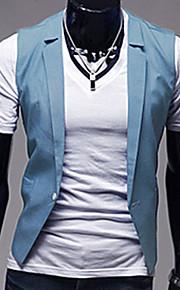 Masculino Colete Escritório / Formal Cor Solida Elastano Manga Comprida Masculino
