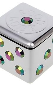 universales Mini cenicero estilo dados portátil para el uso del coche de plata