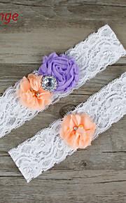 Stretch Satin / Lace Wedding Fashion Bride Garter with Flower /Rhinestone