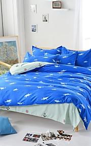 mingjie® squalo blu royal queen e dimensione doppia assestamento levigatura regola 4pcs per ragazzi e ragazze biancheria da letto cina
