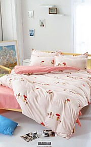 mingjie® 분홍색과 흰색 버섯 거리 퀸과 트윈 사이즈 침구 세트를 남자와 여자 침대 시트 중국 4 개 샌딩