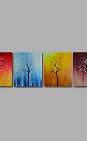 håndmalede olie maleri på lærred væg kunst abstrakte træer landskab blomster fire panel klar til at hænge