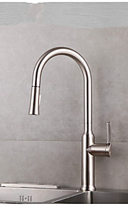 Keukenkraan Modern Met uitneembare spray / Handdouche Messing Geborsteld nikkel