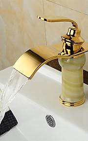 ברז מודרני פליז מפל ירקן חיקוי TI-PVD כיור אמבטיה - זהב