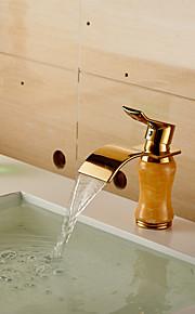 eigentijdse waterval messing imitatie jade badkamer wastafel kraan - golden