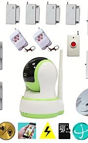 wifi hus hjem indbrudstyv Alarma sikkerhed video hd ip kamera alarmsystemer med trådløs røgalarm nødknap