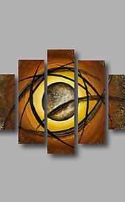 listo para entregar estirada pintura al óleo pintada a mano enmarcada en la pared de la lona de arte abstracto marrón beige cinco paneles