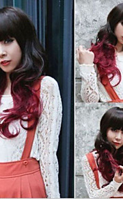 Black Mix Red Wig Long Wavy Curly Hair Women Cosplay Full Wigs