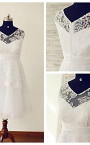 Robe de Mariage  - Blanc Trapèze Col en V Mollet Mollet