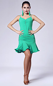 Imported Nylon Viscose with Ruffles Latin Dance Dresses for Women's Performance (More Colors)
