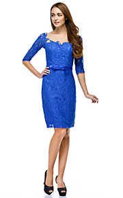 TS Couture® Prom / Cocktail Party / Company Party Dress Sheath / Column Scoop Knee-length Lace with Buttons / Lace