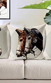 Set of 3 Horse Head Pattern Cotton/Linen Decorative Pillow Cover