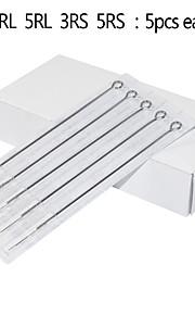 25pcs Manual Mixed Tattoo Needles 3RL 4RL 5RL 3RS 5RS 5pcs for Each Size