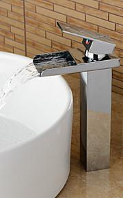 badkamer wastafel kranen verhoogstrips hedendaagse waterval chroom afwerking - zilver
