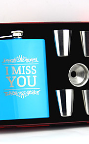 Personalized Stainless Steel Blue Hip Flasks 8-oz Flask Set