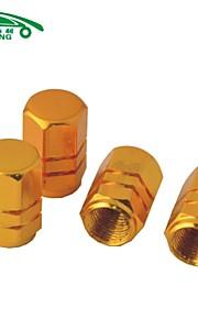 4 piezas hexagonales de aluminio tapas de las válvulas de los neumáticos de aleación de vehículo