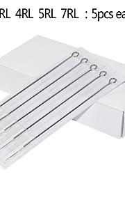 25pcs/lot Assorted Tattoo Needles 1RL/3RL/4RL/5RL/7RL Mixed Round Liner Needles 5pcs for Each Size