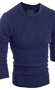 Katoen / Linnen / Polyester - Geruit & geblokt / Effen - Heren - Normaal - Pullover - Informeel / Werk / Formeel / Sport / Grote maten -
