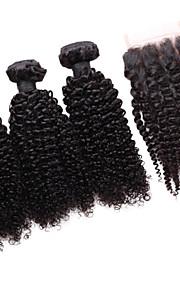 smilco 5а бразильский девственные волосы курчавые локон с закрытием 3 расслоения с закрытием 4 * 4 кружева