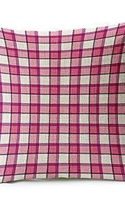 Pink Geometric Pattern Cotton/Linen Decorative Pillow Cover