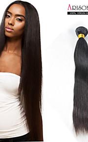 1 шт 10-дюймовый необработанный бразильский девственные волосы переплетения # 1b прямо наращивание волос натуральный Реми