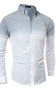 Men's Long Sleeve Shirt , Cotton / Polyester Casual / Work Pure 3D Tie-dyed
