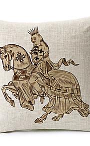 Elegant Knight Pattern Cotton/Linen Decorative Pillow Cover