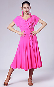 Imported Nylon Viscose Latin Dance Dresses for Women's Performance (More Colors)