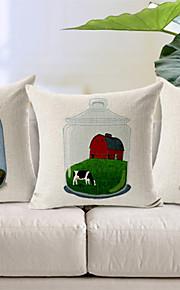 Set of 3 Bottle Story Cotton/Linen Decorative Pillow Cover