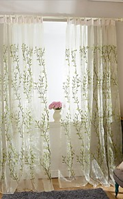 Two Panels European Contracted Fashion Style Of High-Grade Embroidered The Sitting Room The Bedroom Gauze Shade