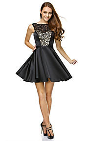 TS Couture® Cocktail Party / Company Party Dress A-line Strapless Short / Mini Lace / Satin with Lace