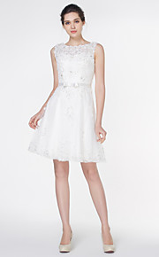 robe de mariée une ligne - - de lanting cuillère dentelle ivoire genou