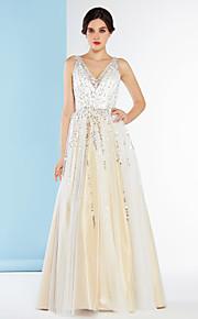 Lanting Bride® Trapèze Robe de Mariage  Longueur Sol Col en V Tulle avec Strass