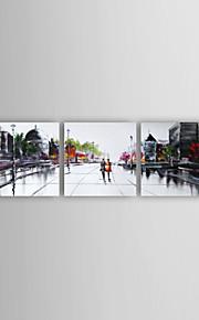 손으로 그린 추상적인우아한 3판넬 캔버스 항으로 그린 유화 For 홈 장식