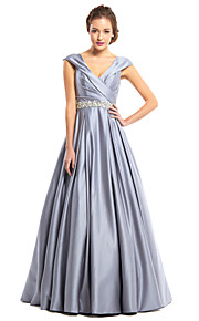 TS Couture® Formal Evening Dress A-line V-neck Floor-length Satin with Beading / Criss Cross
