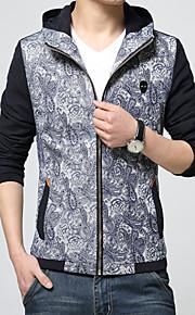 男性用 プレイン カジュアル ジャケット,長袖,コットン,イエロー / グレー