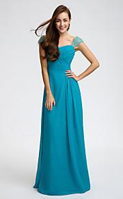 Lan TingFloor-length Chiffon Bridesmaid Dress - Jade Sheath/Column Straps